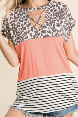 Leopard and Coral Colorblock Tee