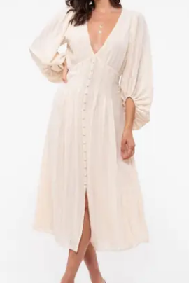 Cream Balloon Sleeve Dress