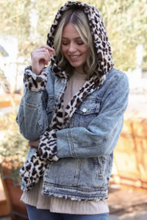 Load image into Gallery viewer, Reversible Denim/Leopard Jacket
