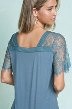 Load image into Gallery viewer, Teal Eyelet Lace Sleeve Tee