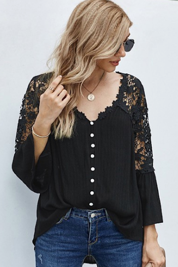 Black Crochet and Flare Sleeve Top