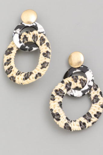 Leopard Straw Hoop Link Earrings