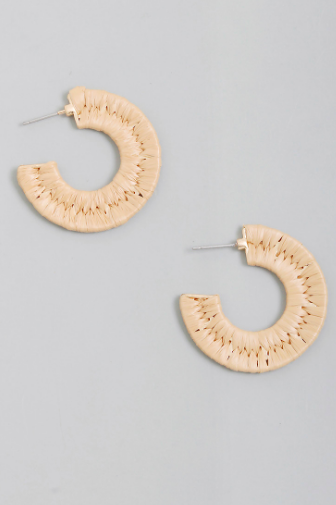 Raffia Crescent Moon Hoop Earrings