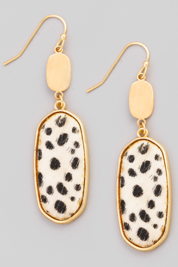 White Oval Leopard Print Drop Earrings