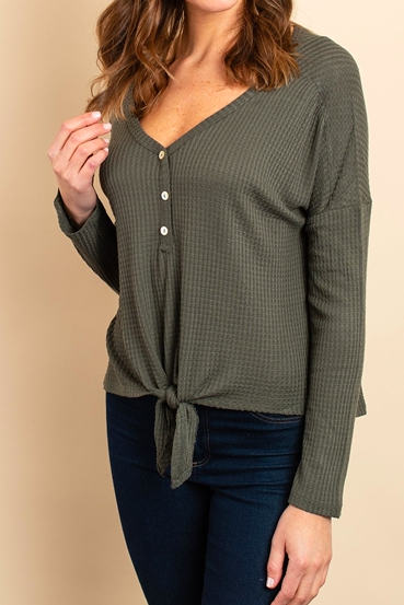 Olive Waffle Knit Top