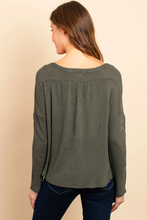 Load image into Gallery viewer, Olive Waffle Knit Top