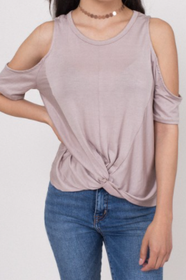 Cold Shoulder Front Tie Top