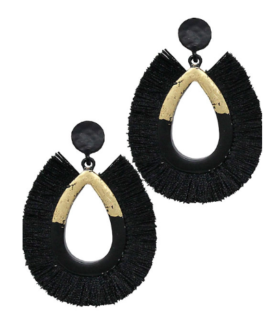 Fashion Two-Tone Drop Post Tassel Earrings