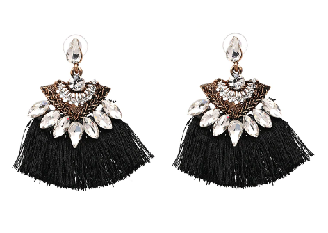 Black Fringe and Rhinestone Earring