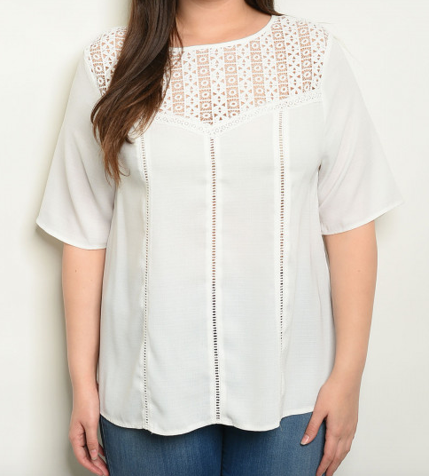 Plus Size White Pattern Short Sleeve Top
