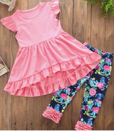 Girls Floral Ruffle Outfit Set