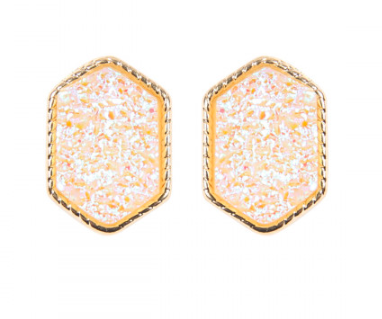 White Shimmer and Gold Trim Earrings