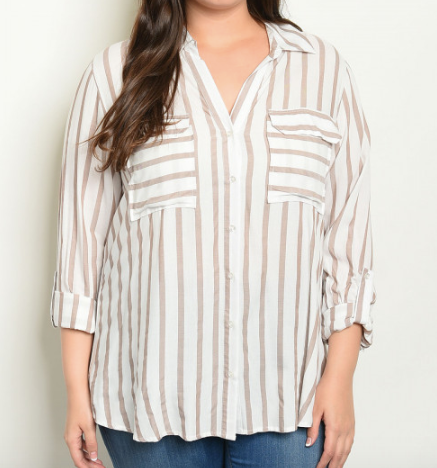 Plus Size Striped Button Down