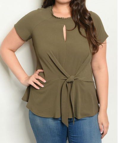 Plus Size Olive Front Tie Top