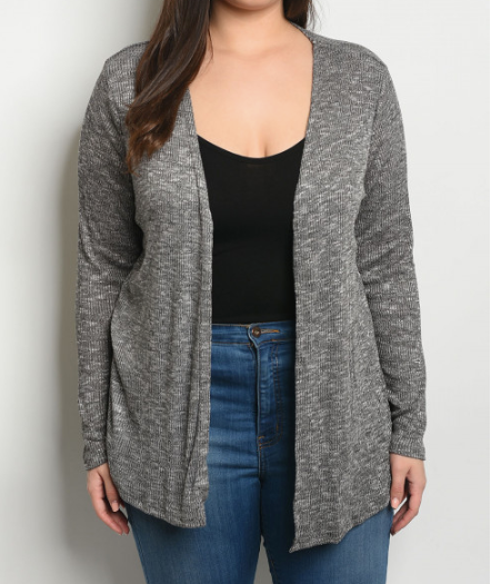 Plus Size Heathered Cardigan