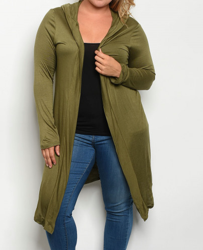 Plus size hooded olive cardigan