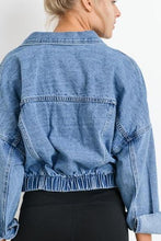 Load image into Gallery viewer, Ribbed and Raw Cropped Denim Jacket