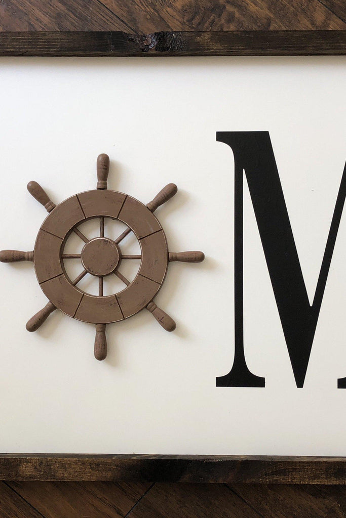 Ship wheel HOME sign