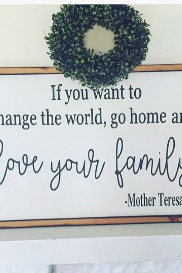 Love Your Family Wooden Framed Signboard