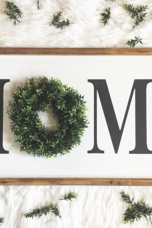 Wood framed HOME sign
