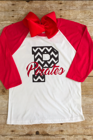 Pirate chevron P baseball tee