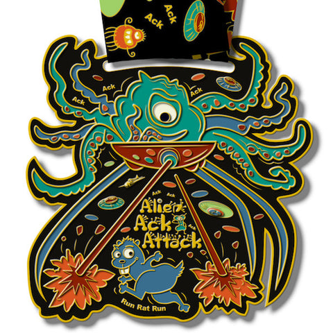 Virtual Run World, Alien Ack Attack, virtual run medal, motivational run medal, virtual run