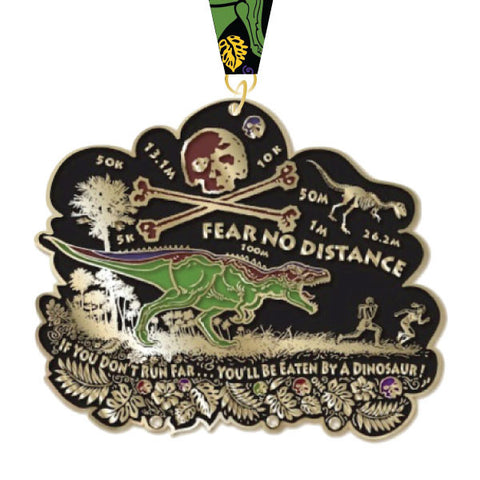 Virtual Run World, fear no distance, virtual run medal, motivational run medal, virtual run, dinosaur medal