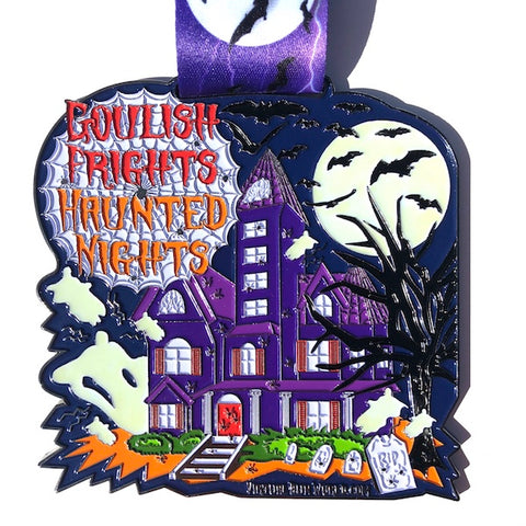 Virtual Run World, goulish frights, virtual run medal, motivational run medal, virtual run, halloween medal