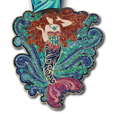 Virtual Run World, magical mermaid, virtual run medal, motivational run medal, virtual run