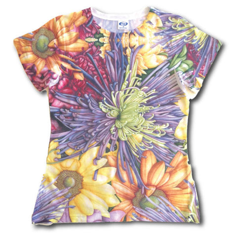 Virtual Run World, purple mum and daisies, virtual run shirt, dye sublimation shirt, virtual run, run shirt, ladies tech shirt