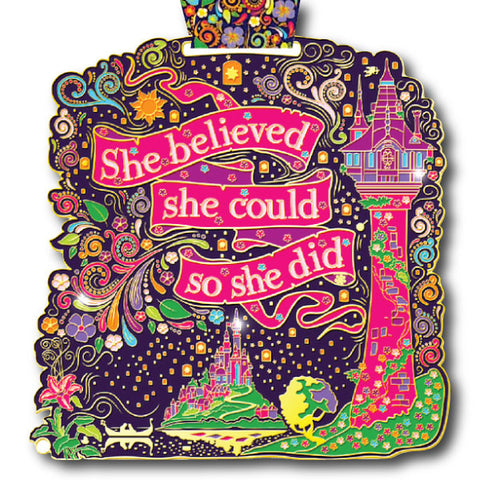 Virtual Run World, she believed she could so she did, virtual run medal, motivational run medal, virtual run