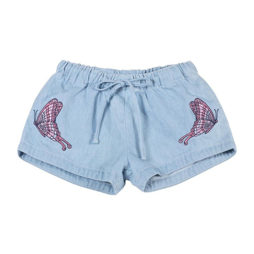 Paper Wings Denim Embroidered Shorts