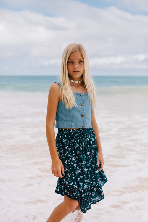Island State Co Seaside Daisies Floral Midi Skirt
