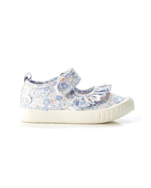 Walnut Play Classic MJ Frill Blue Floral Canvas Shoe