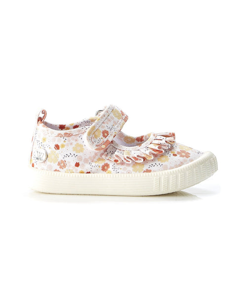Walnut Play Classic MJ Frill Yellow Floral Canvas Shoe