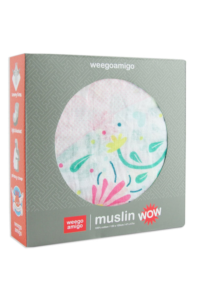 Weegoamigo Muslin Swaddle WOW Snuggle Bunnies