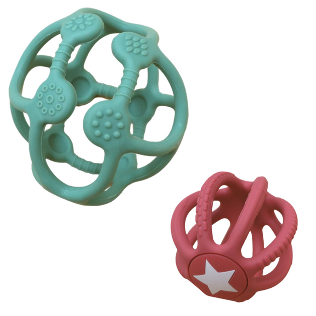 Sensory Ball & Fidget Ball Set - Sage & Dusty Pink