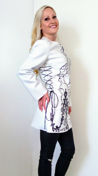 Hand-Painted Faux-Leather Jacket