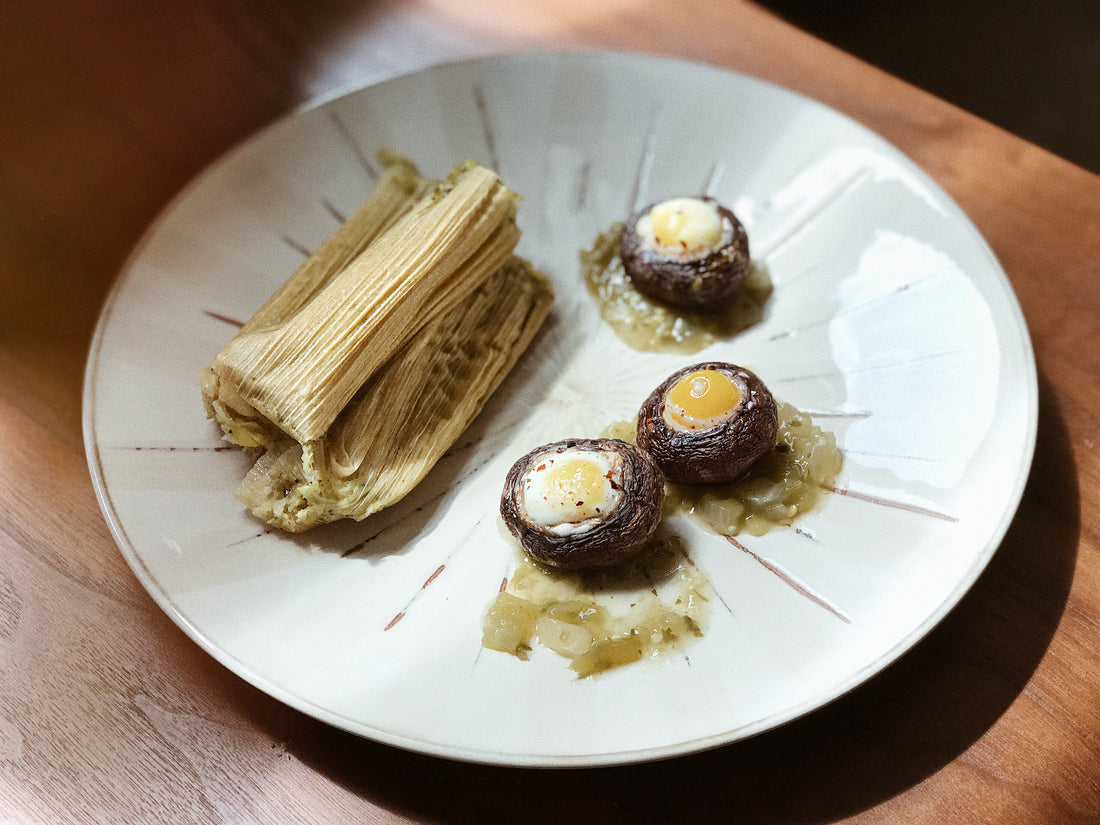 Cheese Tamales + Stuffed Mushroom with Quail Eggs Recipe