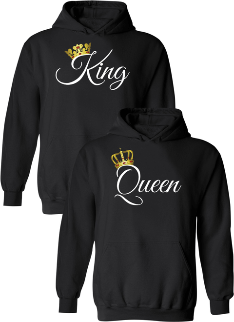 King and Queen Matching Couple Hoodies