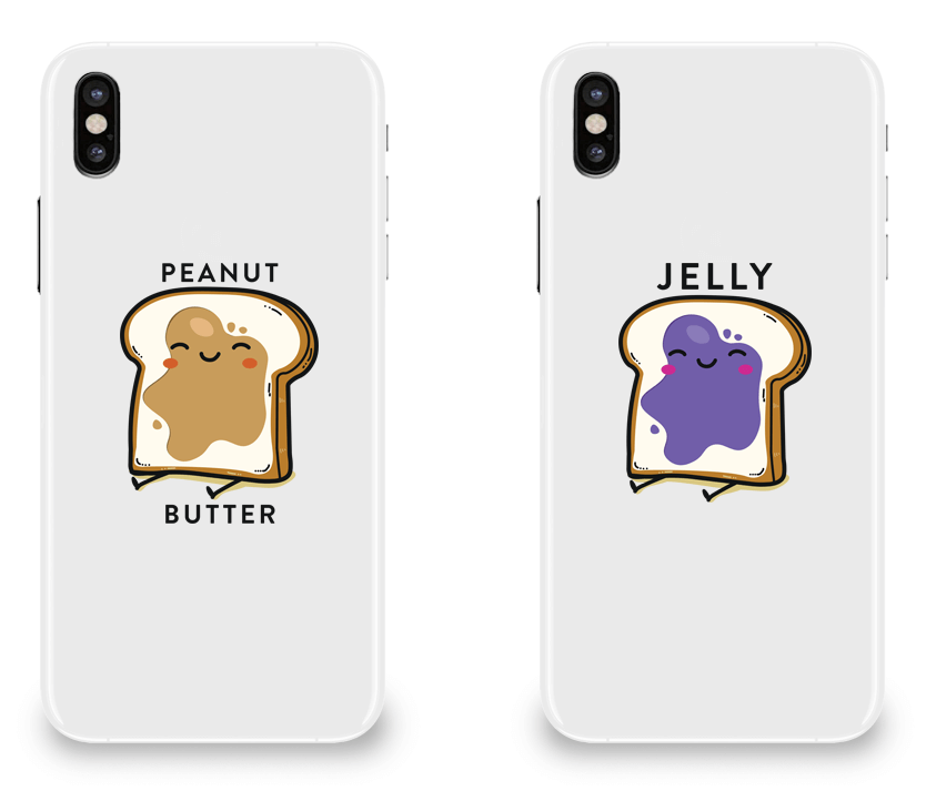 Peanut Butter and Jelly - Couple Matching iPhone X Cases