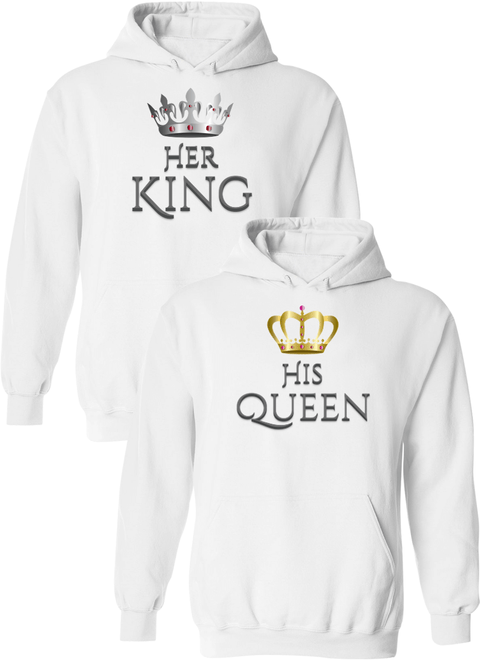 Her King and His Queen Matching Couple Hoodies