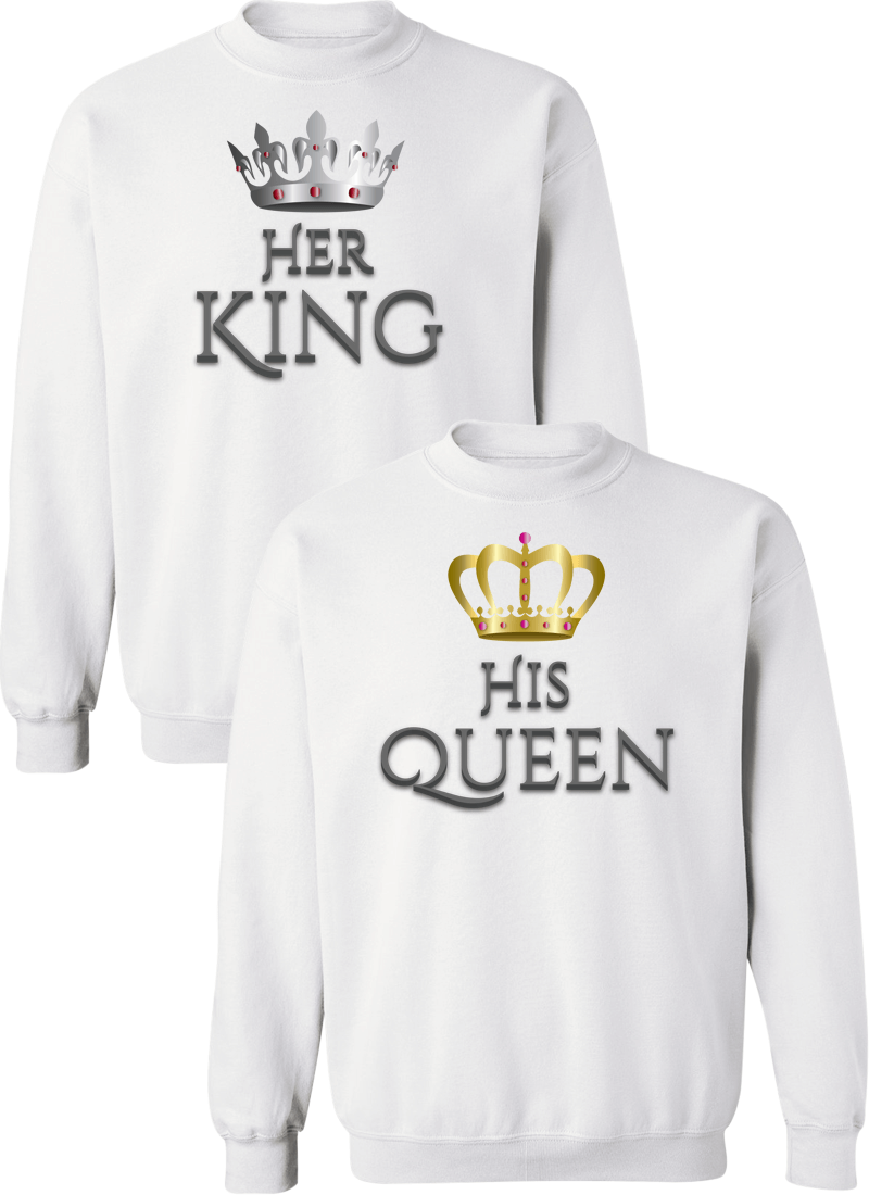 Her King and His Queen Couple Matching Sweatshirts