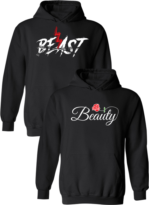Beast and Beauty Matching Couple Hoodies