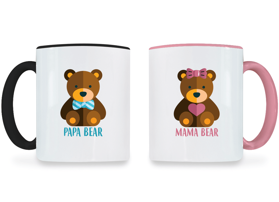 Mama Bear and Papa Bear - Couple Coffee Mugs
