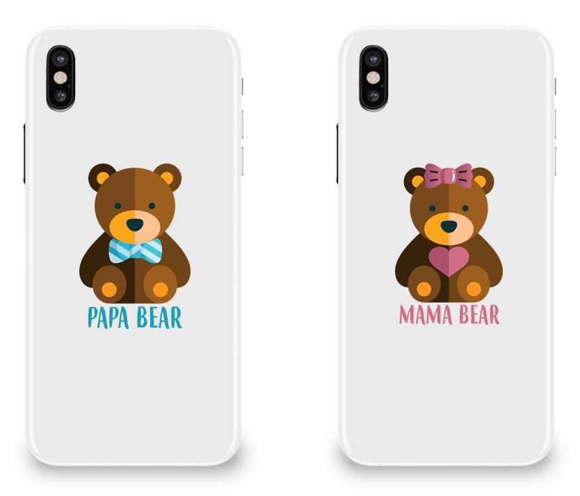 Mama Bear and Papa Bear - Couple Matching iPhone X Cases