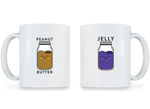 Peanut Butter and Jelly - Couple Coffee Mugs