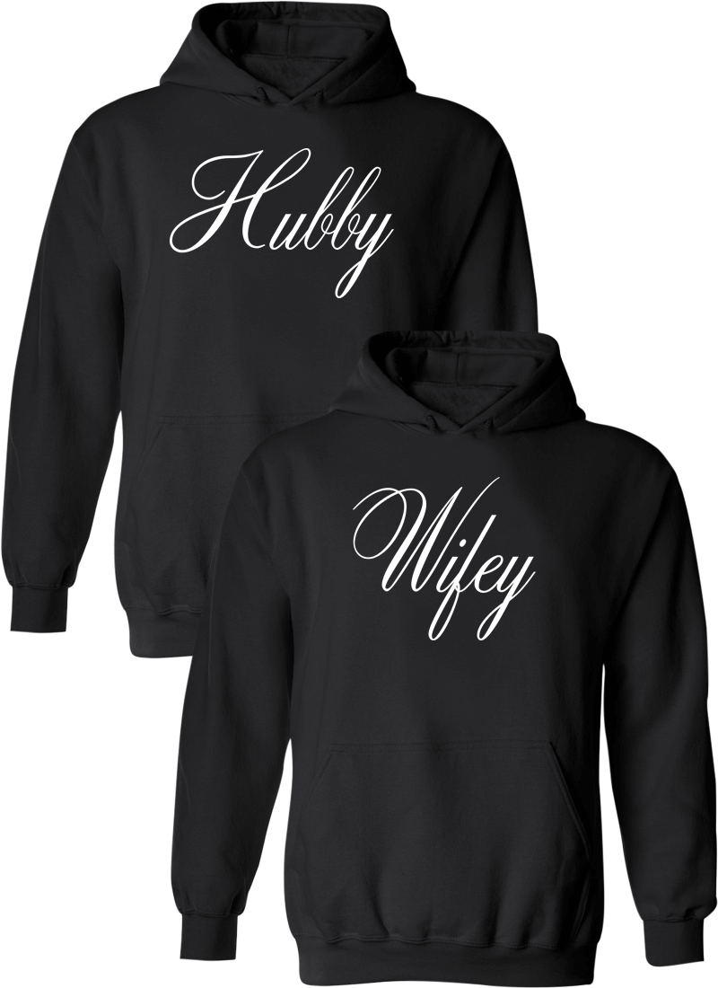 Hubby and Wifey Matching Couple Hoodies
