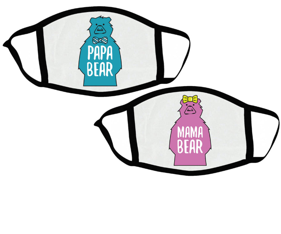Papa Bear & Mama Bear - Couple Face Masks