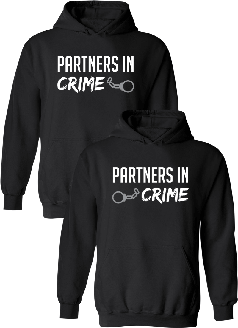 Partners in Crime Matching Couple Hoodies